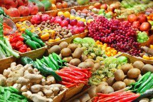 Цветные фрукты и овощи